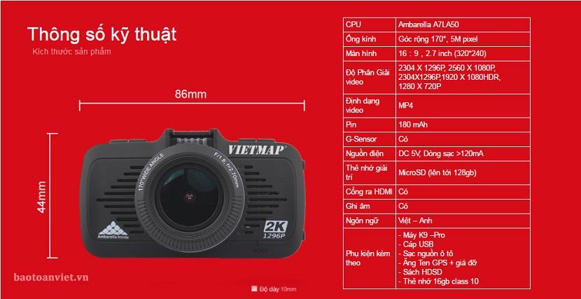Thông số kỹ thuật của camera hành trình k9 pro