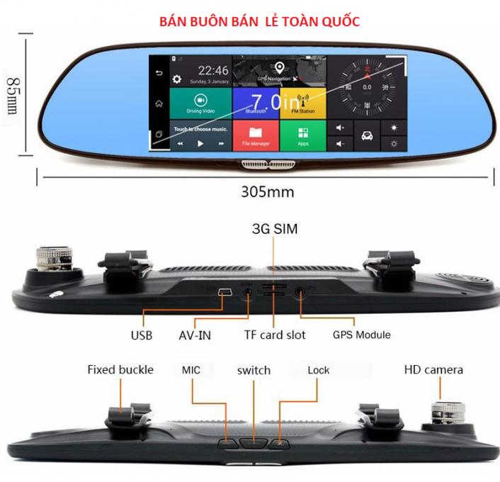 Camera hành trình dạng gương tích hợp sim 3G