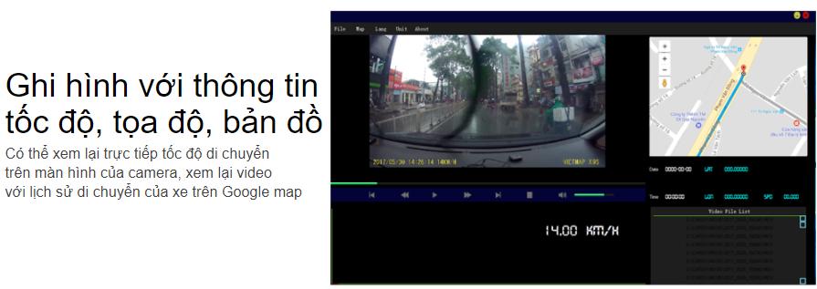 Thêm chức năng ghi hình có tọa độ xe ở đâu