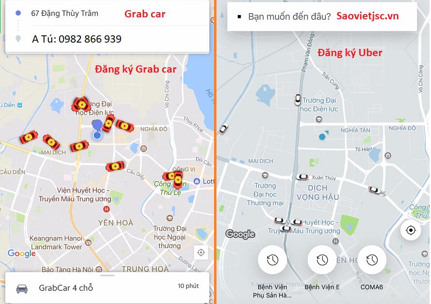 Đăng ký lái xe uber grab car tại Hà Đông