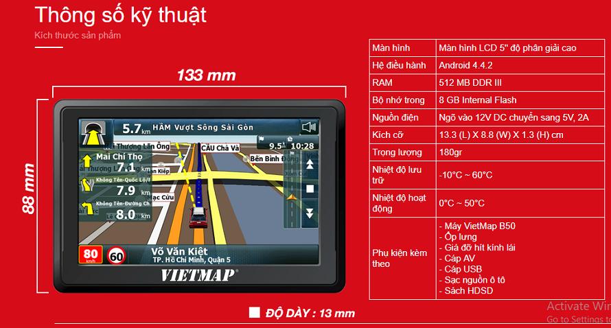 Thông số thiết bị dẫn đường Vietmap B50