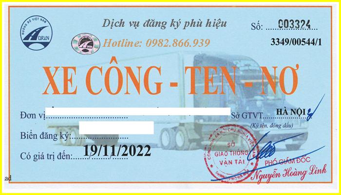 dịch vụ đăng ký phù hiệu cho xe contoner