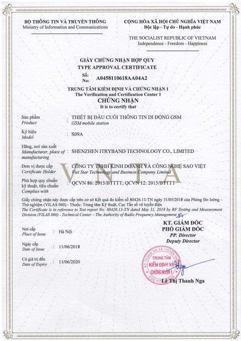 Giấy chứng nhận hợp quy của định vị Sao Việt