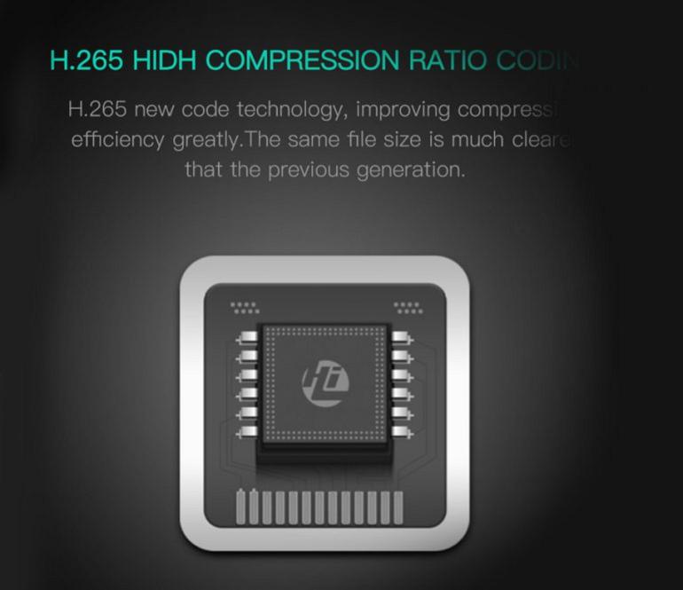Chip H265 giúp cái thiện đáng kể hiệu quả quay so với phiên bản khác