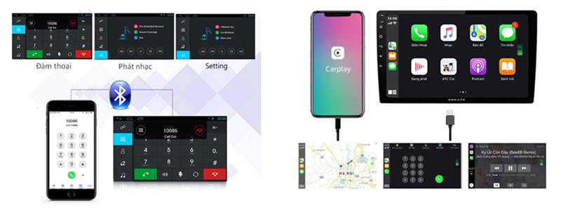 Màn hình android Morcar M7862 tích hợp camera 360 - Kết nối màn hình Gối và màn hình Trần